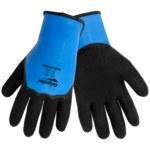 Global Glove Gripster 440 Black/Blue Large Nylon Work Gloves - Latex Palm & Fingers Coating - 440/LG
