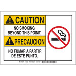 Brady B-555 Aluminum Rectangle White No Smoking Sign - 10 in Width x 7 in Height - Language English / Spanish - 125325