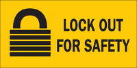 Brady B-302 Polyester Rectangle Yellow Lockout Sign - 10 in Width x 2.25 in Height - Laminated - 88303