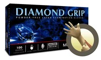 Microflex Diamond Grip MF-300 Off-White Large Powder Free Disposable Gloves - Medical Grade - 9.6 in Length - Rough Finish - 6.3 mil Thick - MF-300-L