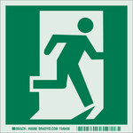Brady Bradyglo B-347 Polyester / Polystyrene Square IMO Evacuation Sign - 6 in Width x 6 in Height - Glow in the Dark - 59286