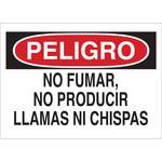 Brady B-302 Polyester Rectangle White No Smoking Sign - 10 in Width x 7 in Height - Laminated - Language Spanish - 37737
