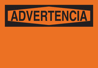 Brady Fiberglass Reinforced Polyester Orange Preprinted Header - 14 in Width x 10 in Height - Language Spanish - 65825