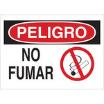 Brady B-302 Polyester Rectangle White No Smoking Sign - 10 in Width x 7 in Height - Laminated - Language Spanish - 37758