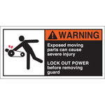 Brady 96155 Orange / White on Black Polyester Equipment Safety Label - 5 in Width - 2 1/2 in Height - B-302