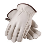 PIP 77-208 White Medium Grain Cowhide Leather Driver's Gloves - Straight Thumb - 9.7 in Length - 77-208/M