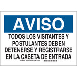 Brady B-555 Aluminum Rectangle White Restricted Area Sign - 14 in Width x 10 in Height - Language Spanish - 38157
