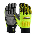 PIP Maximum Safety Mad Max II 120-4050 Black/Gray/Yellow Large Synthetic Nylon/Polyurethane/Spandex/Synthetic Leather Work Gloves - PVC Palm & Fingers Coating - 10.3 in Length - 120-4050/L