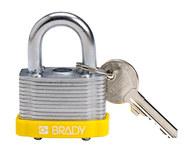 Brady Yellow Steel 5-pin Keyed & Safety Padlock 143132 - 1 5/16 in Width - 1 1/5 in Height - 17/64 in Shackle Diameter - 1 Key(s) Included - 754473-20804