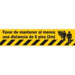 Brady ToughStripe Black / Yellow Warning Tape - Pattern/Text = Favor de mantener al menos una distancia de 6 pies (2m) - 4 in Width x 100 ft Length - 0.008 in Thick - 64479