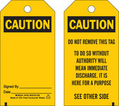 Brady 65348 Black on Yellow Polyester Equipment Safety Tag - 3 in Width - 5 3/4 in Height - B-851