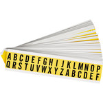 Brady 34 Series 3420-LTR KIT Black on Yellow Vinyl Cloth Letters Label Kit - Indoor - 9/16 in Width - 3/4 in Height - 5/8 in Character Height - 34251