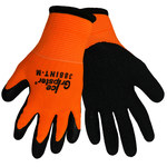 Global Glove Ice Gripster 388INT Black/Orange Large Nylon Cold Condition Gloves - Rubber Palm & Fingers Coating - Terry Insulation - 388INT/LG