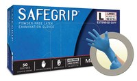 Microflex Safe Grip SG-375 Blue Large Powder Free Disposable Gloves - Medical Grade - 11.6 in Length - Rough Finish - 11 mil Thick - SG-375-L