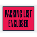 Red Packing List Enclosed Full Face Envelopes - 4.5 in x 6 in - 2 Mil Poly Thick - SHP-8204
