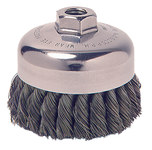 Weiler Carbon Steel Cup Brush - Threaded Arbor Attachment - 3 1/2 in Diameter - 5/8-11 Center Hole - 0.02 in Bristle Diameter - 36066