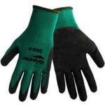 Global Glove Gripster 360 Black/Green 7 Nylon Work Gloves - Rubber Foam Palm Only Coating - Rough Finish - 360/7