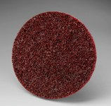 3M Scotch-Brite SL-DH Non-Woven Aluminum Oxide Maroon Hook & Loop Disc - Medium - 4 in Diameter - 33804
