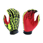 West Chester R2 87820 Red/Yellow/Black Large Synthetic Leather Work Gloves - Wing Thumb - Silicone Fingers Coating - 87820/L