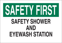 Brady B-302 Polyester Rectangle White Eyewash & Shower Sign - 10 in Width x 7 in Height - Laminated - 85337