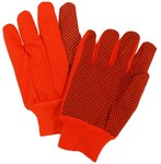 West Chester 710KORPD Orange Large Canvas Work Gloves - PVC Dotted Palm & Fingers Coating - 11 in Length