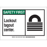 Brady B-401 Polystyrene Rectangle White Lockout / Tagout Sign - 10 in Width x 7 in Height - 132240