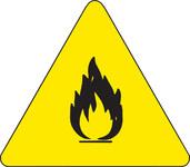 Brady 60181 Black on Yellow Triangle Vinyl Fire Hazard Label - 1/2 in Width - 1/2 in Height - B-946