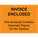 Orange Important Papers Enclosed Envelopes - 4.5 in x 6 in - 2 Mil Poly Thick - SHP-8276