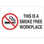 Brady B-302 Polyester Rectangle White No Smoking Sign - 10 in Width x 7 in Height - Laminated - 72355