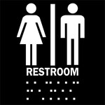 Brady B-81 Plastic Square Black Restroom Sign - 8 in Width x 8 in Height - 70103