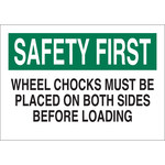 Brady B-555 Aluminum Rectangle White Wheel Chock Sign - 10 in Width x 7 in Height - 42600