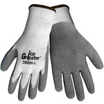 Global Glove Ice Gripster 300IN Gray/White Large Acrylic Cold Condition Gloves - Rubber Palm & Fingers Coating - 300IN/LG