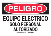 Brady B-302 Polyester Rectangle White Electrical Safety Sign - 10 in Width x 7 in Height - Laminated - Language English / Spanish - 37630