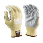 Armor Guys Taeki5 Ultimate 01-020 Yellow/Gray, Brown Cuff Large Leather/Taeki 5 Cut-Resistant Gloves - ANSI A4, EN 388 5 Cut Resistance - 01-020-L