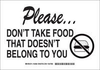 Brady B-555 Aluminum Rectangle White Food & Beverage Sign - 10 in Width x 7 in Height - 128304
