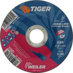 Weiler TIGER Aluminum Oxide Cutting Wheel - Type 27 - Depressed Center Wheel - 36 Grit - 4 1/2 in Diameter - 7/8 in Center Hole - 3/32 in Thick - 57081