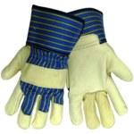 Global Glove 1900 Blue/Tan Large Grain Cowhide Leather Work Gloves - 1200KB
