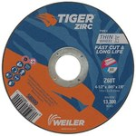Weiler Tiger Zirc Zirconia Alumina Cutting Wheel - Type 1 - Straight Wheel - 60 Grit - T Grade - 4-1/2 in Diameter - 7/8 in Center Hole - 0.045 in Thick - 58000