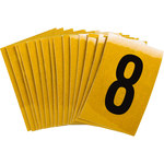 Brady Bradylite 5920-8 Black on Yellow Number Label - Outdoor - 1 in Width - 1 1/2 in Height - 1 in Character Height - B-997
