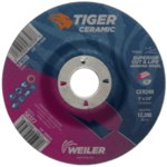 Weiler Tiger Ceramic Grinding Wheel - 24 Grit - 5 in Diameter - 7/8 in Center Hole - 1/4 in Thick - 58327