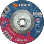 Weiler TIGER Aluminum Oxide Cutting Wheel - Type 27 - Depressed Center Wheel - 60 Grit - 5 in Diameter - 5/8-11 Center Hole -.045 in Thick - 57042
