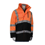 PIP Black/Orange Large Polyester Work Jacket - 3 Pockets - Rollaway Hood - 616314-25890