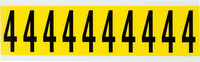 Brady 34 Series 3440-4 Black on Yellow Vinyl Cloth Number Label - Indoor - 7/8 in Width - 2 1/4 in Height - 1 15/16 in Character Height - B-498