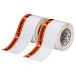 Brady THTEL-161-483-1-AV Black / Orange on White Square Polyester Hazardous Area Label - 4 in Width - 4 in Height - B-483