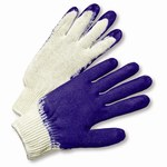 West Chester 708SLC Blue/White Large Cotton/Polyester General Purpose Gloves - Latex Palm Only Coating - 9.75 in Length