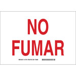 Brady B-302 Polyester Rectangle White No Smoking Sign - 10 in Width x 7 in Height - Language Spanish - 37740