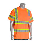 PIP 313-CNTSPLY Orange Polyester High Visibility Shirt - T-Shirt - ANSI Class 3 Rating - Fits 51.2 in Chest - 31.1 in Length - 616314-82719