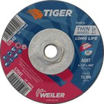 Weiler TIGER Aluminum Oxide Cutting Wheel - Type 27 - Depressed Center Wheel - 60 Grit - 4 1/2 in Diameter - 5/8-11 Center Hole -.045 in Thick - 57040