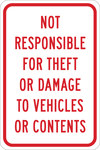Brady B-555 Aluminum Rectangle White Parking Security Sign - 12 in Width x 18 in Height - 124503