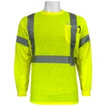 Global Glove FrogWear GLO-009 Lime Polyester Reflective Shirt - Long-Sleeve Shirt - ANSI Class 3 Rating - GLO-008LS MD